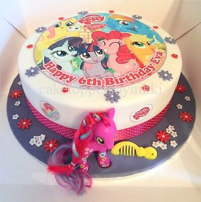 """Edible My Little Pony 7.5"""" Icing Girls Personalised Cake Topper +17 Extra's C"""
