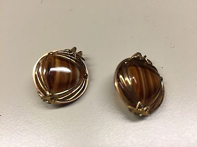Old Vtg Gold Plated Decorative Brown Round Women's Pair of Earrings Jewelry