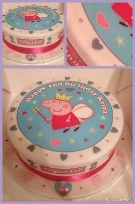 """Edible Peppa Pig Fairy 7.5"""" Icing Girls Personalised Cake Topper +14 Extra's"""