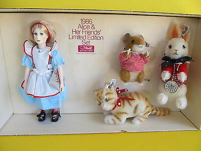 Suzanne Gibson STEIFF 1986 Alice And Her Friends LTD. Ed. Rabbit Cat Mouse Doll