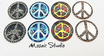 Glass Cabochons  Measure  25mm x 8pc Peace Sign (NoA)