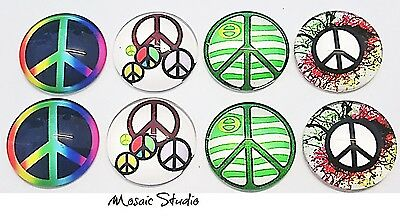 Glass Cabochons  Measure  25mm x 8pc Peace Sign (NoB)
