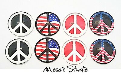 Glass Cabochons  Measure  25mm x 8pc Peace Sign (NoC)