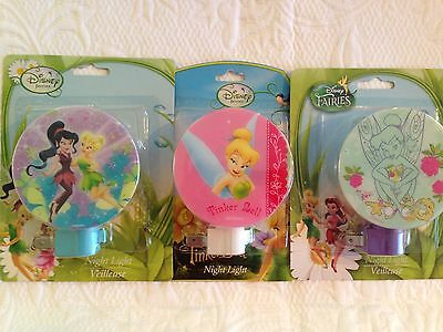 Lot Of 3 Disney Fairies Night Lights Tinkerbell Bedroom Bathroom Hallway New!