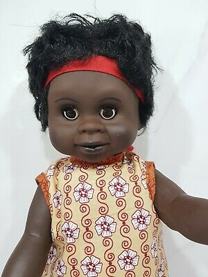 "Australian Aboriginal Doll Girl Black 35cm or 13"" Yellow Dress"
