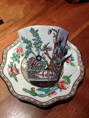 Antique English Coalport China Cup and Saucer ~ Indian Tree Pattern
