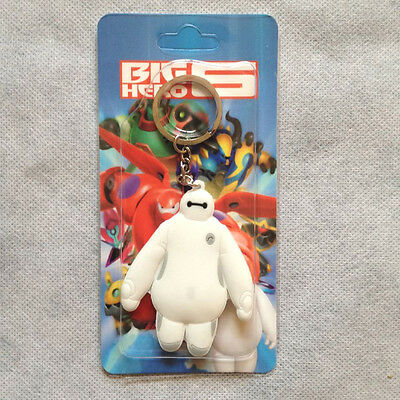"""New Big Hero 6 Baymax 2.8""""/7cm Double Faced Bubber Keychain Keyring Collectible"""
