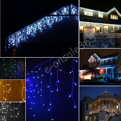 224 LED Twinkling Icicle Snowfall Fairy String Light Indoor Outdoor Christmas 5M