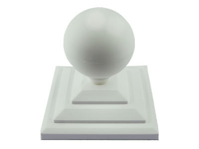 "Linic 1 x White Round Sphere Fence Top Finial + 4"" Fence Post Cap UK Made GT0031"