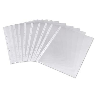 A4 Clear Plastic Punched Pockets Folders Paper Wallets Sleeves Files Open Top