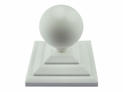 "Linic 4 x White Round Sphere Fence Top Finial + 4"" Fence Post Cap UK Made GT0033"