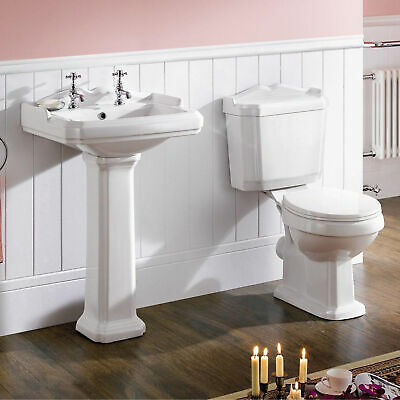 SYNERGY Classic Style Close Coupled WC Toilet and Basin with Pedestal Cloakroom