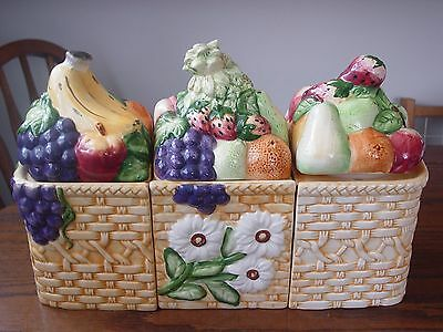 FRUIT CANISTERS set of 3  GOURMET HOME ACCENTS  banana, grapes, berries, apples