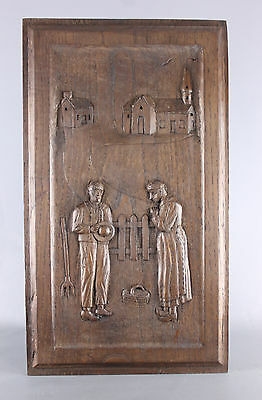 Antique French wood carved Panel
