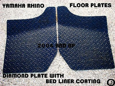 "YAMAHA RHINO DIAMOND PLATE FLOOR BOARDS 2004 UP- BLACK  ""rubber coated"""