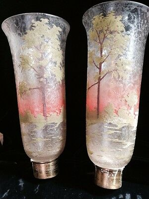 """ANTIQUE ART GLASS LOETZ RARE SHADES HAND PAINT SCENIC TREES ETCHED LOOK 10 1/2"""""""