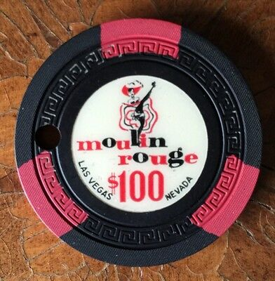 $100 Moulin Rouge Casino Can Can Girl R9 Rare 1957 Las Vegas Nevada Vintage Chip