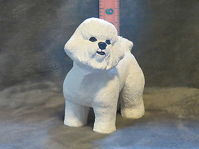 Bichon Frise Plaster Dog Statue Hand Cast & Painted By T.c. Schoch