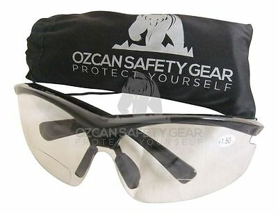 Bifocal Safety Glasses Clear Lens Work Read Sport Power Magnifier +1.50 +2.00