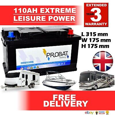 12V 100AH LEISURE BATTERY W/COVER HEAVY DUTY DEEP CYCLE LOW HEIGHT (105 ah amp)