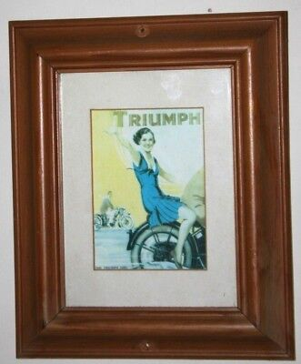Vintage Triumph Motor Cycle Poster c1930 Framed - FREE P&P [PL947]
