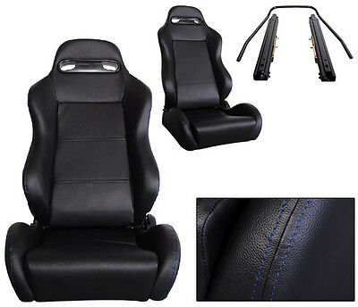 New 1 Pair Black Leather + Blue Stitch Racing Seats All Ford **