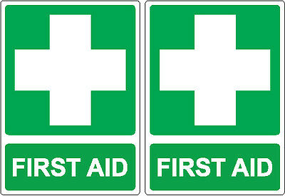 TWO FIRST AID  Stickers 14cm x 10cm Sign Decal Set Public Safety OHS WHS
