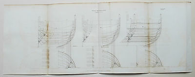 1812 Naval Architecture A Ship of 74 Guns Antique Large Print Rees Plate VIII