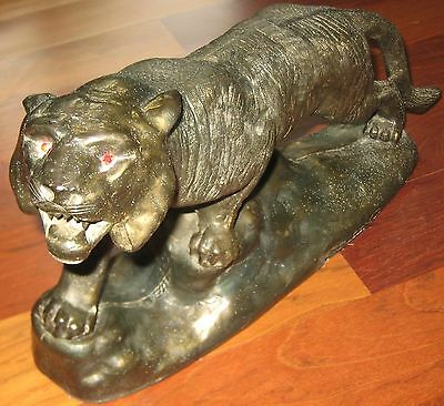 Large Vintage Japanese Bronze Brass Casted Statue Figure Tiger