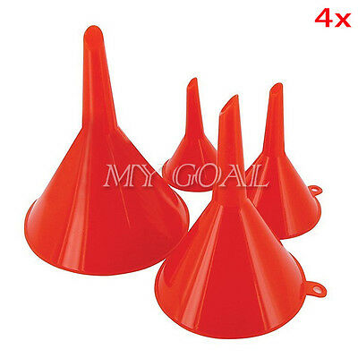 4pcs Sizes Plastic Funnel Heavy Duty Auto Oil Water Lab Home Kitchen Car Tools