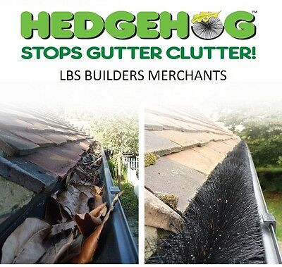 Genuine Hedgehog Gutter Brush - Leaf Guard 100mm Black, Brown, White. FREE CLIPS