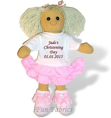 Personalised Rag Doll Christening First Holy Communion Dedication Baptism Gift