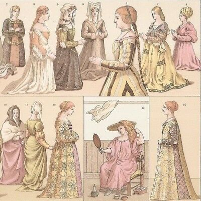 Italie XVIe - -  Costumes féminins  - Gravure Ancienne 1888