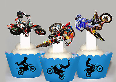 Motorcross Supercross Race Party 15 EDIBLE cupcake cake Toppers PRE-CUT Cup Cake