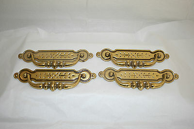 Brass Drawer Pulls Bail and Backplate, Set of 4