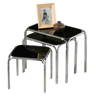 Nest Of Three Tables Home Office 3 Living Room Black Glass Top With Chrome Legs