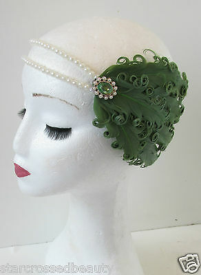 Green Ivory White & Pearl Feather Headpiece Flapper Vintage 1920s Headband O90