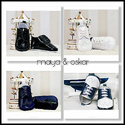 Baby Boys Black White Pram Shoes Christening Wedding Baptism Smart Formal Party