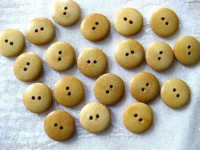20 Wooden Buttons,natural, ca. 19mm K67