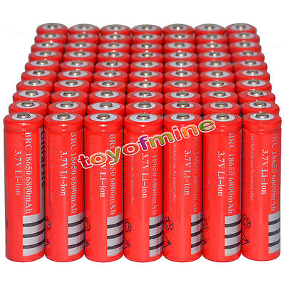 70x 3.7V 18650 Li-ion 6800mAh Red Rechargeable Battery for LED Torch