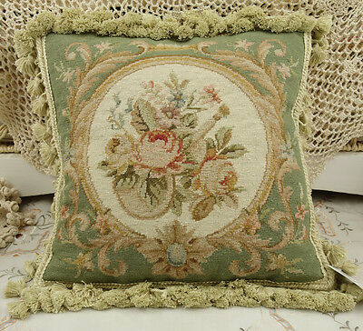 "14"" Chic Shabby Pale Green Beige Floral Handmade Needlepoint Pillow Cushion"