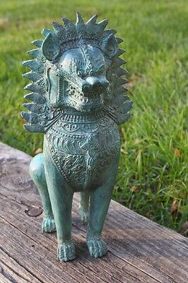 Buddhist Temple Lion Guardian Statue Cast Metal (5)  Pounds Bluish Green Color