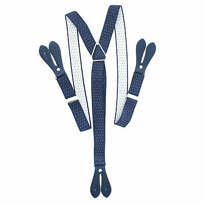 Navy with Brown Unisex Suspender Braces Adjustable with Button Holes - UK Seller