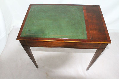 English Sheraton Inlaid Side End Table With Leather Top. Circa 1920su0027