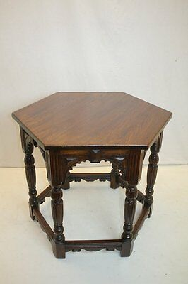 American Hexagon Architectural Side End Center Table Labeled Flint And Horner NY