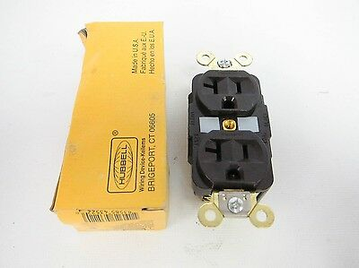 Hubbell HBL5362 Receptacle Power Outlet Duplex Back & Side Wired 2 Pole Brown