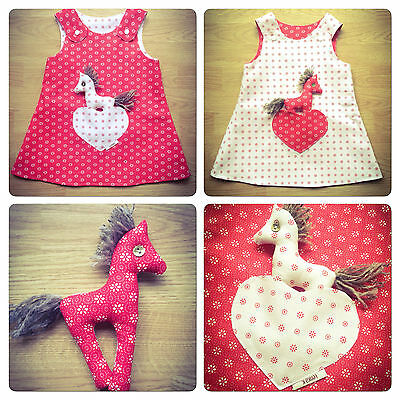 Handmade Reversible girl's dress Red Flowers Size: New Born - 9 Years