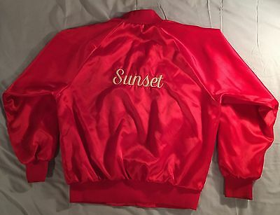 SUNSET Vintage Wear Guard Red Satin Jacket Size L Made in the USA PRIORITY MAIL