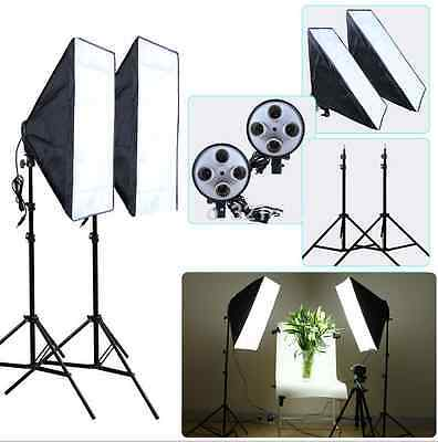 Photography Photo Studio Continuous Softbox Lights Lighting Stands Soft Box Kit