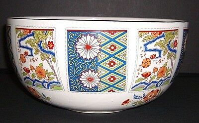 Asian Oriental Imari  Bowl~Red,Blue,Green,Orange~ Gold Trimmmed~Signed